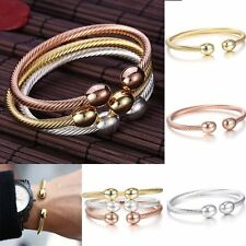 Women Men Stainless Steel Cable Twisted Wire Cuff Bangle Bracelet Multi-Choose