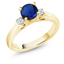 Simulated Sapphire & Created Sapphire 18K Yellow Gold Plated Silver 3-Stone Ring