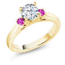 White Created Sapphire Pink Sapphire 18K Yellow Gold Plated Silver 3-Stone Ring
