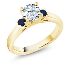 White Created Sapphire Blue Sapphire 18K Yellow Gold Plated Silver 3-Stone Ring