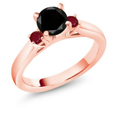 1.33 Ct Round Black Diamond Red Ruby 18K Rose Gold Plated Silver Ring