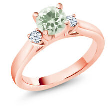 1.17 Ct Round Green Amethyst 18K Rose Gold Plated Silver 3-Stone Ring