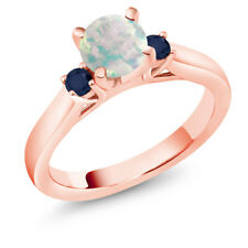 0.56 Ct Cabochon White Simulated Opal Blue Sapphire 14K Rose Gold 3-Stone Ring