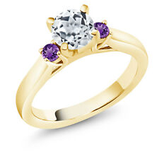 1.10 Ct White Topaz Purple Amethyst 18K Yellow Gold Plated Silver 3-Stone Ring