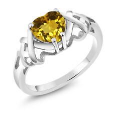1.05 Ct Heart Shape Yellow Citrine 925 Sterling Silver Ring