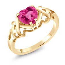 1.30 Ct Heart Shape Pink Mystic Topaz 18K Yellow Gold Plated Silver Ring