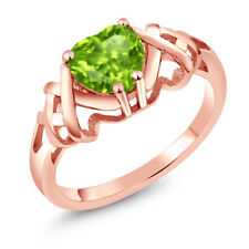1.20 Ct Heart Shape Green Peridot 18K Rose Gold Plated Silver Ring