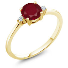 1.03 Ct Round Red Ruby White Created Sapphire 10K Yellow Gold Ring