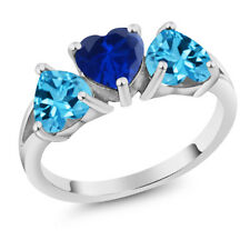 2.70Ct Blue Simulated Sapphire Swiss Blue Topaz 925 Sterling Silver 3-Stone Ring