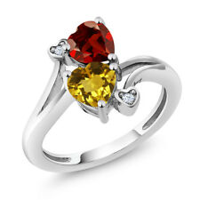 1.63 Ct Heart Shape Yellow Citrine Red Garnet 925 Sterling Silver Ring