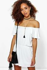 Boohoo Womens Ada Off The Shoulder Frill Sleeve Playsuit