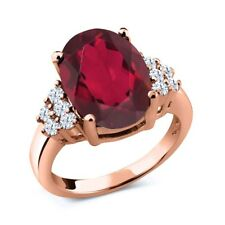 4.40 Ct Mystic Quartz White Created Sapphire 18K Rose Gold Plated Silver Ring
