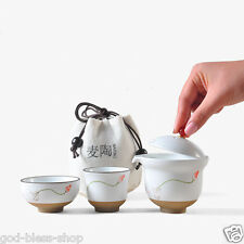 Pottery tea set handpainted tea pot with infuser Chinese portable bag China cup