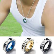 Gothic Double Ring Pendant Mens Punk  Constellation Necklace Stainless Steel