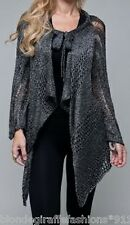 Black Open Crochet/Knit L/Sleeve Drape Bolero/Shrug/Cardigan Cover-Up S/M/L #063