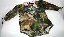 MOSSY OAK CAMOUFLAGE & PINK BABY LACE DIAPER SHIRT - INFANT SNAP SHIRT