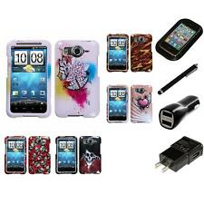 For HTC Inspire 4G Design Snap-On Hard Case Phone Cover Charger Stylus