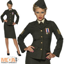 Wartime 1940s Army Officer Ladies Military Uniform Fancy Dress 40s Costume 8-26