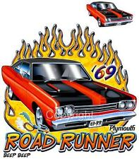 1969 Plymouth Roadrunner Muscle Cartoon Tshirt 9137 automotive art