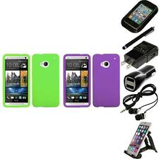 For HTC One M7 Silicone Skin Rubber Soft Case Phone Cover Accessories