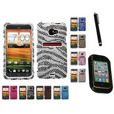 For HTC EVO 4G LTE Diamond Diamante Bling Rhinestone Case Cover Mount+Pen