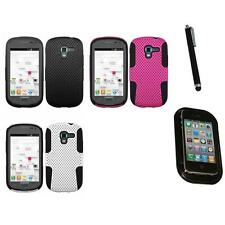 For Samsung Galaxy Exhibit T599 Hybrid Rugged Impact Hard Soft Case Mount+Pen