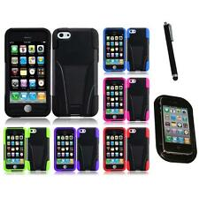 For Apple iPhone 5C Hard Stand Soft Silicone Skin Case 2-Piece Cover Mount+Pen