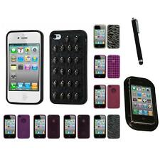 For Apple iPhone 4/4S TPU Rubber Skin Flexible Case Phone Cover Mount+Pen
