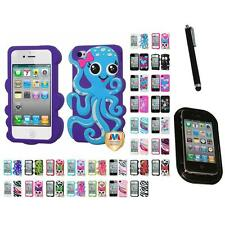 For Apple iPhone 4/4S Silicone Design Skin Soft Phone Case Cover Mount+Pen