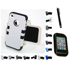 For Apple iPhone 4/4S Hybrid TUFF IMPACT Holster Clip Hard Case Cover Mount+Pen