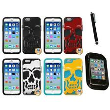 For iPhone 6/6S [4.7] Hybrid Skull Skeleton Impact Hard Soft Case Mount+Pen