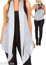Gray w/ Lace Back Drape/Scarf Tunic Cover Sleeveless Vest