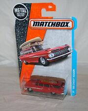 2017 Matchbox # 1 1959 59 CHEVY WAGON w/ Canoe on Top Bright Red SHARP !!!