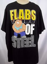 FAMILY GUY Flabs of Steel Mens Black T-Shirt Big & Tall NWT Funny Tee TV Show