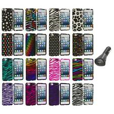 Zebra Polka Dot Hard Design Case Cover+Car Charger for iPod Touch 5th Gen 5G