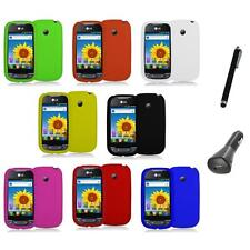 Silicone Rubber Color Gel Skin Case Cover+Charger+Pen for LG Net10 Optimus Net
