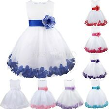 New White Flower Girl Dress Rose Petals Wedding Ball Gown Size 2 4 6 8 10 12 14