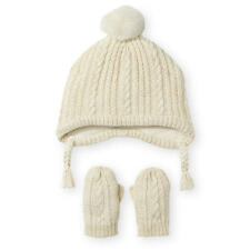 Koala Kids Ivory Cable Knit Hat and Mitten Set - Toddler