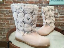 Joan Boyce Blush Quilted Faux Fur Ankle Boots New