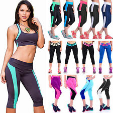 Womens Stretch Yoga Workout Leggings Sports Exercise Pants Cropped Trousers M-XL