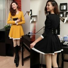 Fashion womens elegant Korean tall waist lace Hem long sleeve dress ED