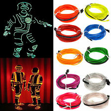 1M To 5M LED Light El Wire Glow String Strip Rope Party +3V/12V/USB Controller