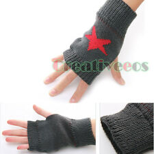 Unisex Krean Knit Wool Winter Star Arm Warmers Gloves Fingerless pentagram