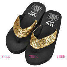 New Womens Yellow Sequins Thongs Casual Wedges Sandals Flip Flops Beach Shoes EE