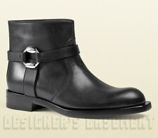GUCCI black leather GEORGIA Biker Low Heel BUCKLE Ankle boots NIB Authentic $995