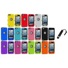 Deluxe Hybrid 3-Piece Case Cover+Protector+Stylus Plug for iPod Touch 5th 5G