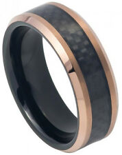 8mm Tungsten Ring Men Women Wedding Band Ring Black IP Inside & Rose Gold IP