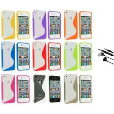 TPU Color Clear S-Shape S-Line Rubber Case Cover+Earphone Mic for iPhone 4S 4G 4