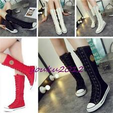 Fashion Womens Girl Punk Gothic  Canvas Boots Sports shoes Sneakers Knee High Y