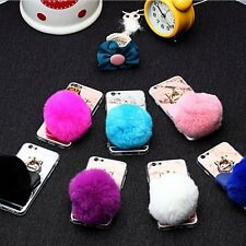 Girly iPhone 5 SE 6 6S Plus Furry Ball Cute Case With Keychain TPU Mirror Cover